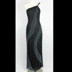 SCALA Black & gray beaded long formal silk dress